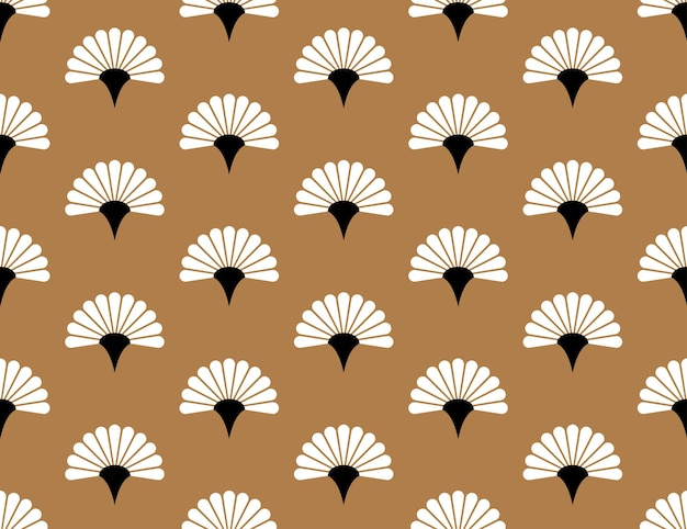 Japanese handheld floral vector seamless pattern on golden background japan blossom texture
