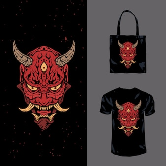 Japanese hannya ghost hand drawn illustration