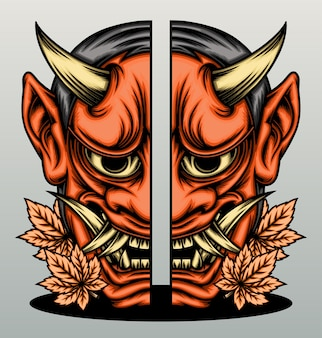Japanese hannya mask cracked.