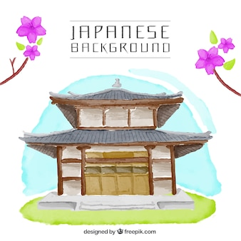 Japanese house watercolor background