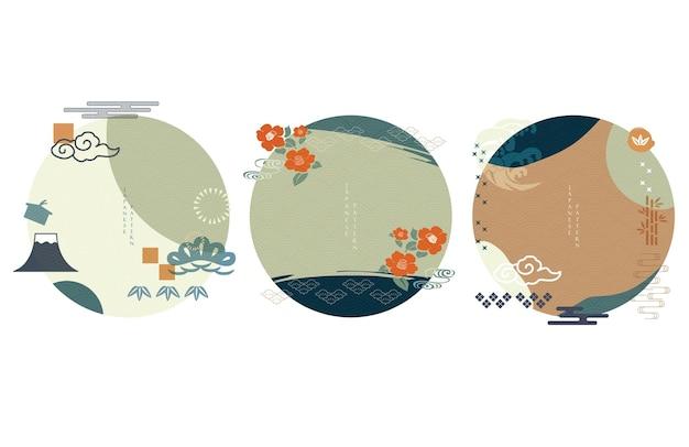Японский значок и символ с вектором волновой картины. азиатский объект с формой круга. гора фудзи, цветок камелии, бамбук и облачный объект.