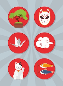 Japanese icon collection on gray background