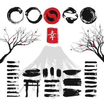 Japanese ink grunge art brushes and asian design elements vector set. japanese ink black texture stroke illustration