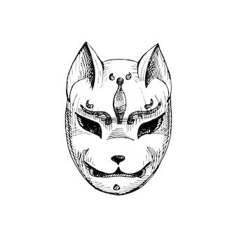 Japanese kitsune fox mask vintage vector hatching black monochrome illustration isolated on white