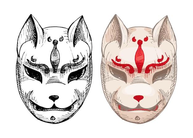 Japanese kitsune fox mask vintage vector hatching color illustration isolated on white