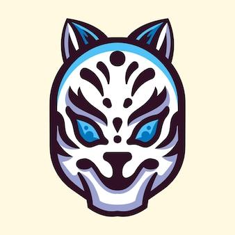 Japanese kitsune mask illustration logo