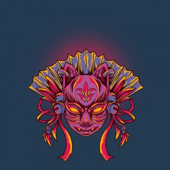 Japanese kitsune mask vector illustration