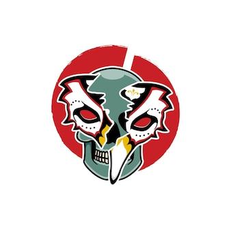 해골이 있는 일본 키츠네 마스크