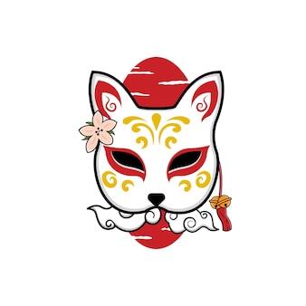 日本のキツネマスク Premiumベクター