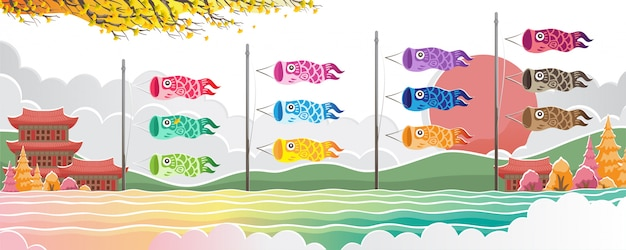 Japanese koi carp flags vector isolated design