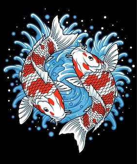 Японская рыба кои и волны рыба кои и волны
