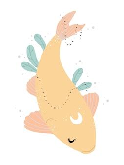 Японская рыба кои, луна и зеленые растения