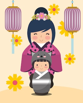Japanese kokeshi doll kimono