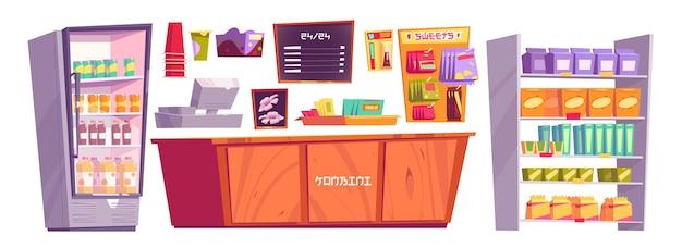 Японский магазин конбини, изолированные вещи и продукты, касса на минимаркете, полки с закусками или предметами первой необходимости