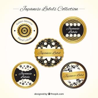 Collezione etichette giapponese, nero e oro
