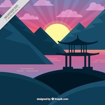 Japanese landscape background at sunset