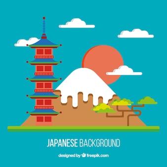 Paesaggio giapponese in background design piatto