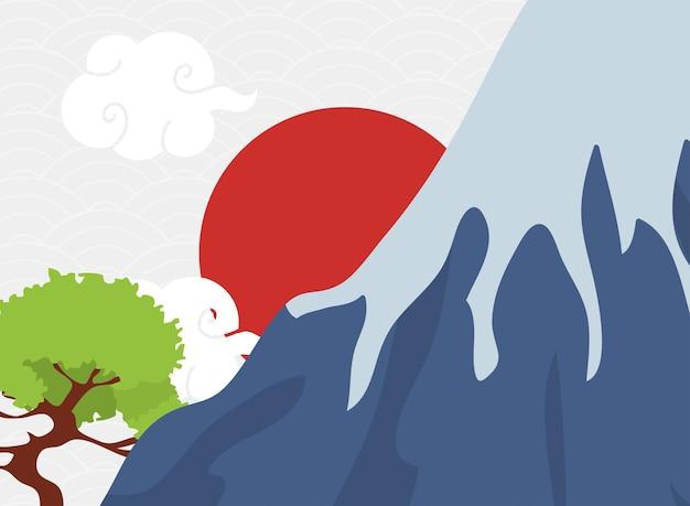 植樹のある日本の風景