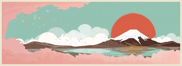Japanese landscape Premium Vector