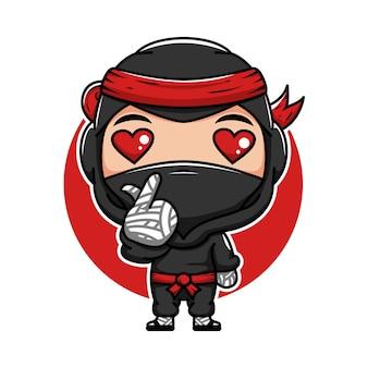사랑 손 기호 귀여운 만화 일본 작은 닌자