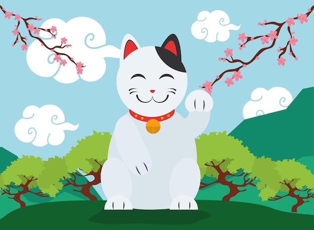 風景の中の日本の招き猫