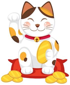 Gatto fortunato giapponese maneki neko personaggio dei cartoni animati isolato