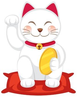 Японский счастливый кот манэки нэко мультипликационный персонаж изолирован