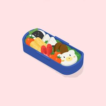 日本のお弁当、お弁当。面白い漫画の食べ物。ピンクの背景の等尺性のカラフルなイラスト。