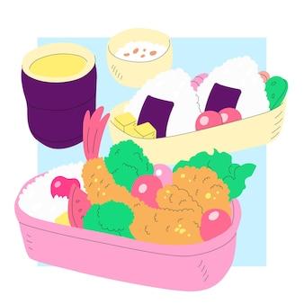 Японский ланчбокс, наполненный едой, рисованной