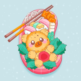 Japanese lunchbox filled with food kawaii design