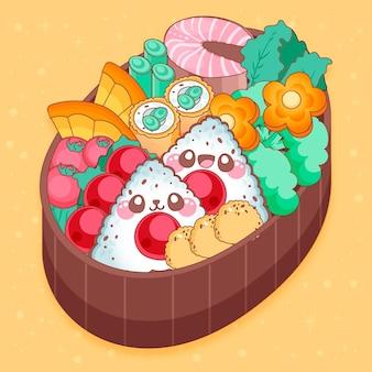Японский ланч-бокс, наполненный едой в стиле каваи