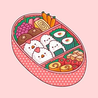 食べ物のカワイイデザインでいっぱいのお弁当