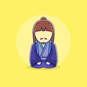 Japanese man with kimono in flat design illustration