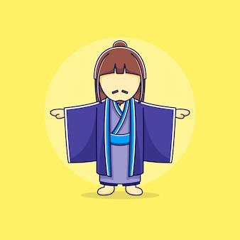 フラットなデザインのイラストで着物と日本人男性