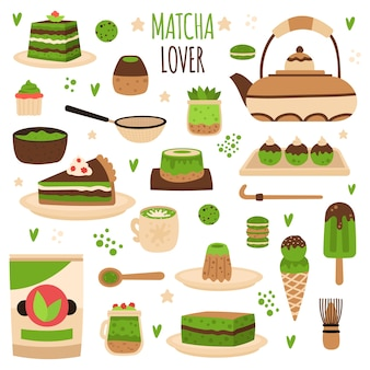 Japanese matcha powder preparation tools illustration