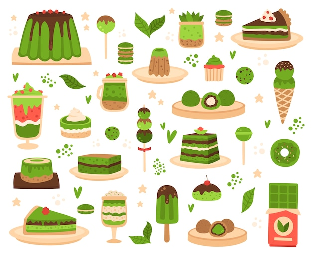 Japanese matcha powder products illustration