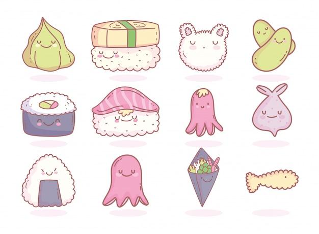 Японское меню ресторана мультфильм еда милая