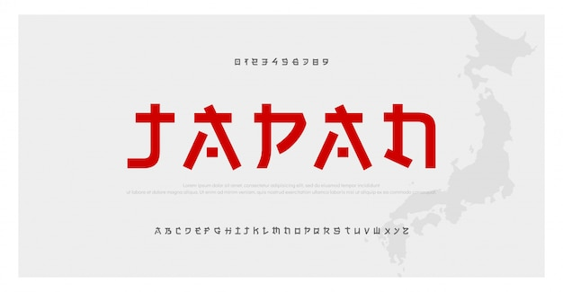 Japanese modern alphabet font. japan asian fonts