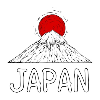 Japanese mountain Premium Vector