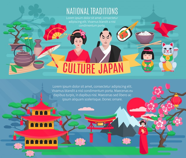Japanese national symbols traditions and culture information for tourists flat horizontal banners