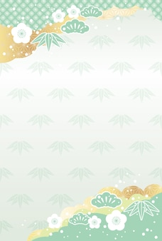 Japanese new year background with vintage auspicious charms