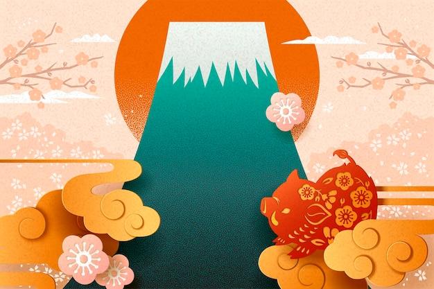 Японский новый год с кабаном в стиле бумажного искусства и горой фудзи
