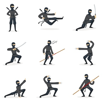 Японский ниндзя ассасин в полном черном костюме, выполняющих позы боевых искусств ниндзюцу с различным оружием серия иллюстраций.