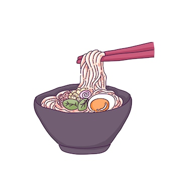 Japanese noodle illustration.