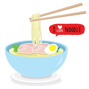 Japanese noodle ramen food bowl vector