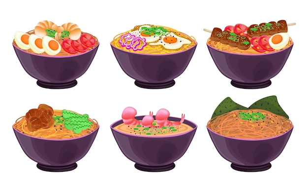 Japanese noodles in bowls illustrations set