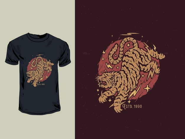 Japanese old stamp and tattoo style angry tiger tshirt illustration