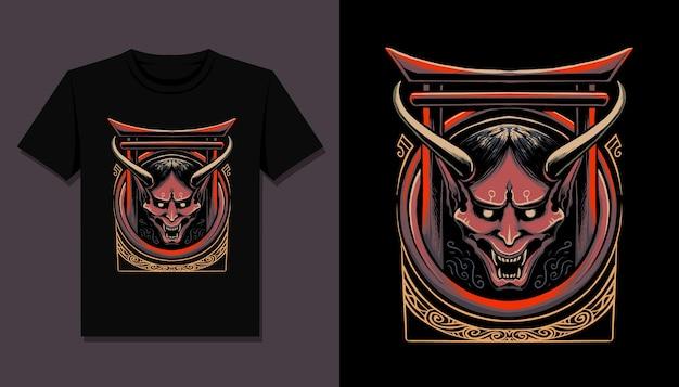 T 셔츠 디자인을위한 일본 오니 악마