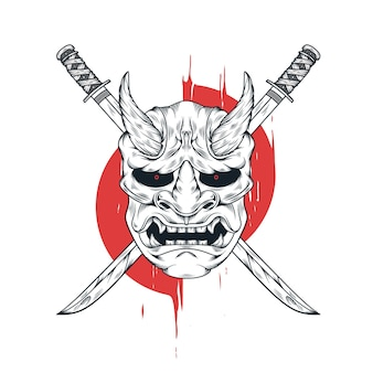 Japanese oni evil mask and katana sword illustration