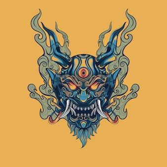 Japanese oni mask blue fire mask design illustration for t shirt